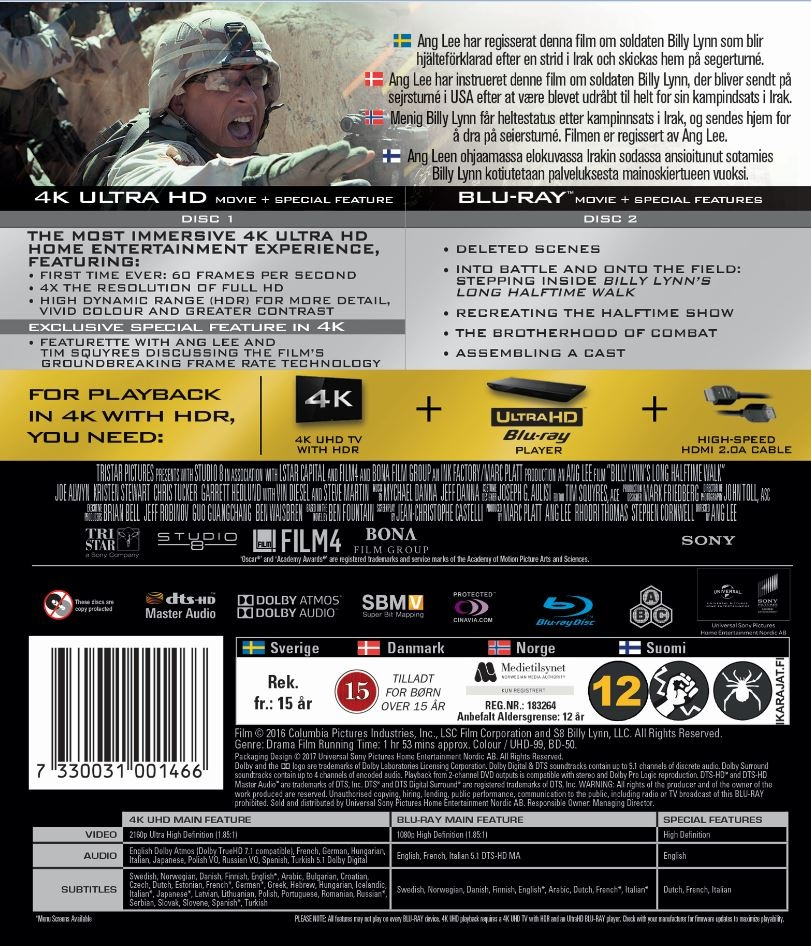 Najd³u¿szy Marsz Billy'ego Lynna - Lynna Billy Lynn's Long Halftime Walk (2016) - Film 4K Ultra-HD