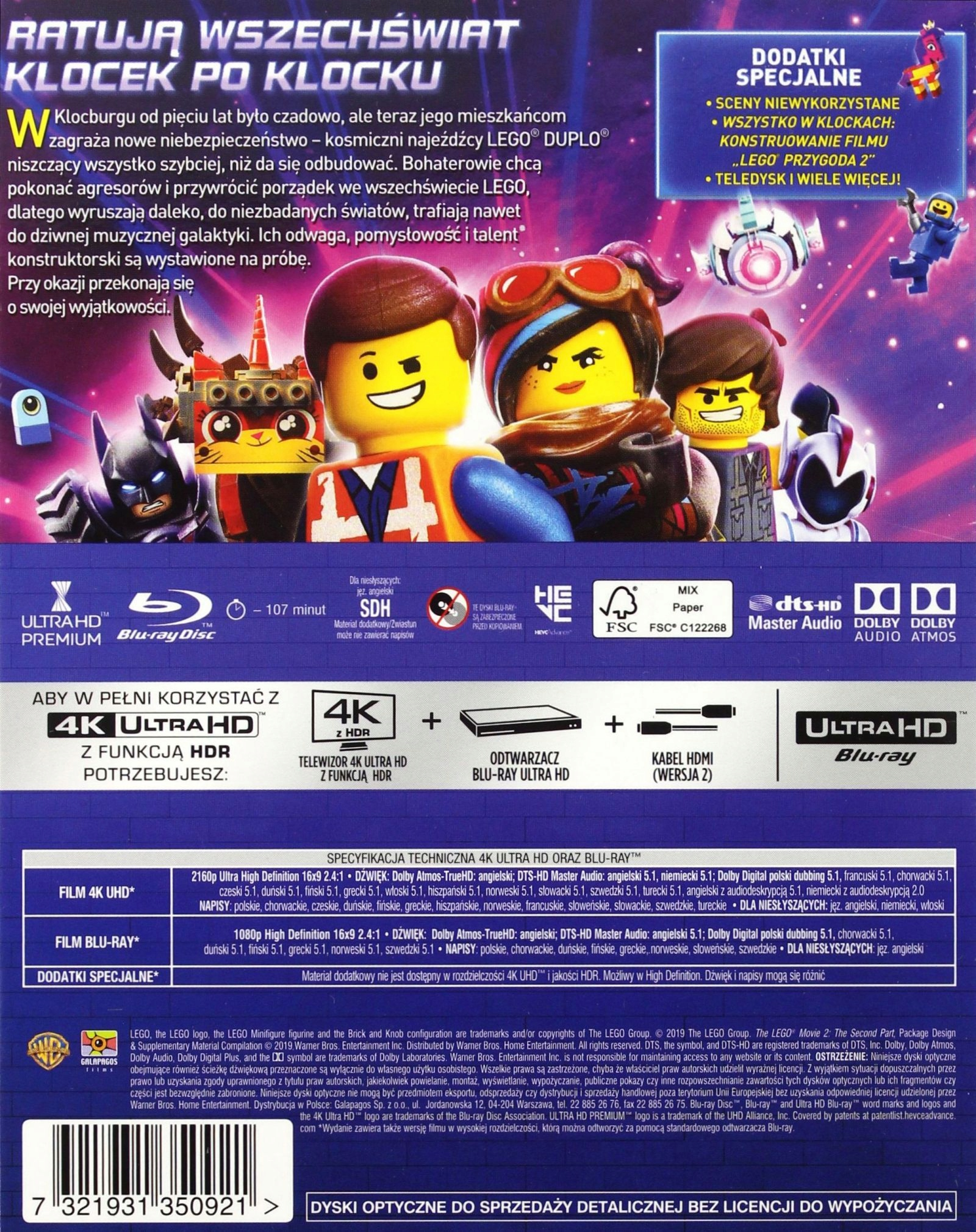 Lego®: Przygoda 2 - The Lego® Movie 2: The Second Part (2019) - Film 4K Ultra-HD